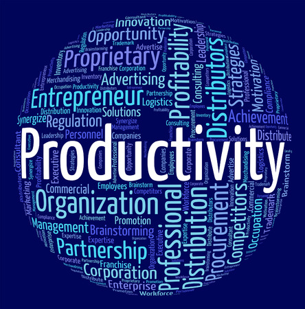 efficient: Productivity Word Showing Efficient Effective And Efficiency Stock Photo