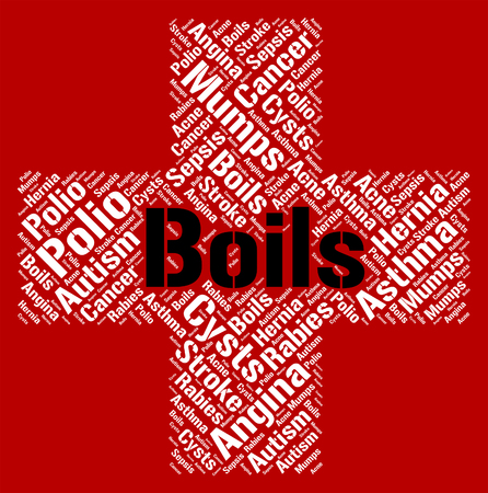 indisposition: Boils Word Representing Ill Health And Diseased Stock Photo