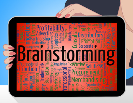 put on: Brainstorming Word Indicating Put Heads Together And Dream Up Stock Photo