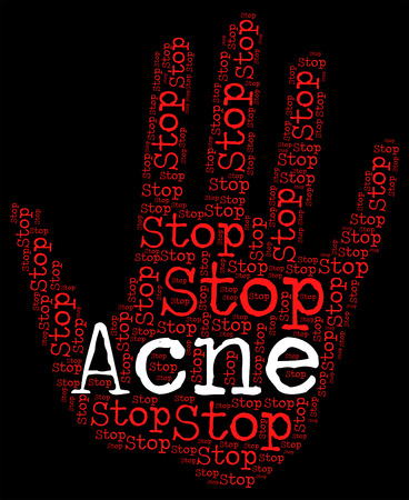stop: Stop Acne Representing Warning Sign And Rosacea