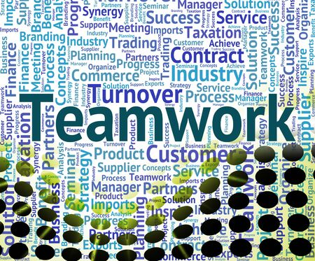organized unit: Teamwork Word Meaning Group Teams And Words Stock Photo