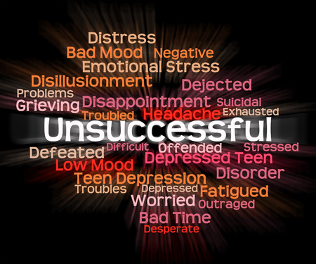 Unsuccessful Word Representing In Vain And Useless Stock Photo