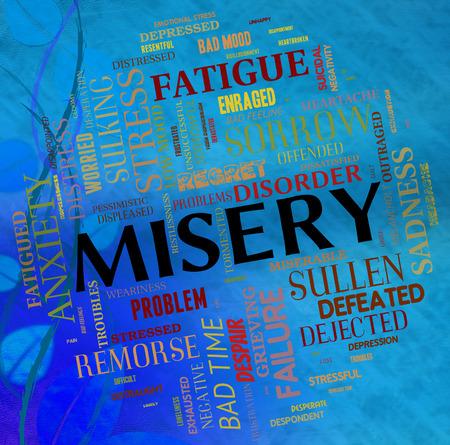 alicaído: Misery Palabra Duelo Indicando Stricken Y Abandonada