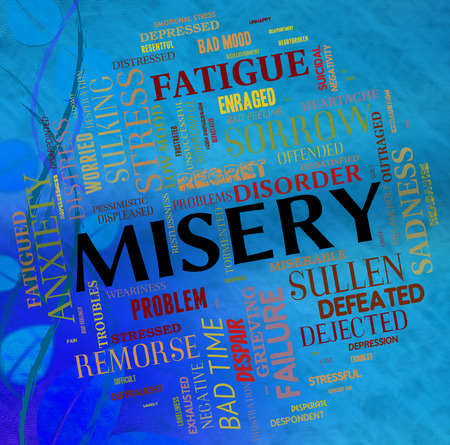 disconsolate: Misery Word Indicating Grief Stricken And Forlorn Stock Photo