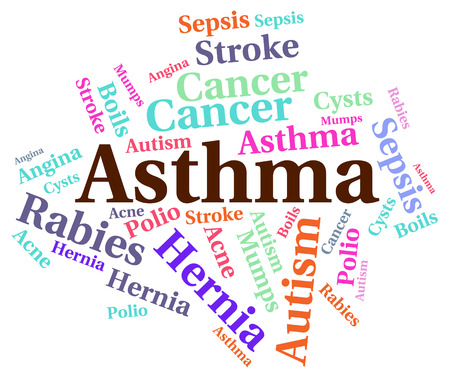 malady: Asthma Word Showing Ill Health And Malady