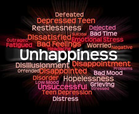 downcast: Unhappiness Word Showing Broken Hearted And Heartbroken