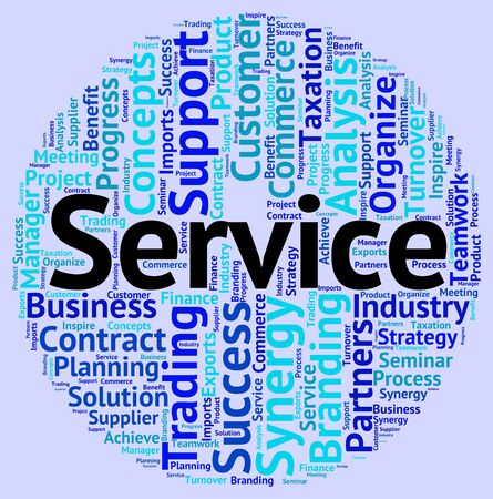service desk: Service Word Indicating Help Desk And Wordclouds