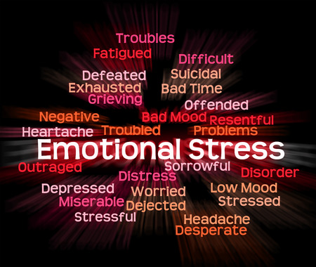 stressing: Emotional Stress Meaning Heart Rending And Wordcloud Stock Photo
