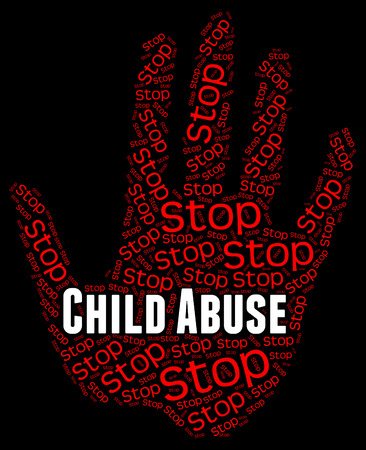 molest: Stop Child Abuse Meaning Control Caution And Mistreat Stock Photo