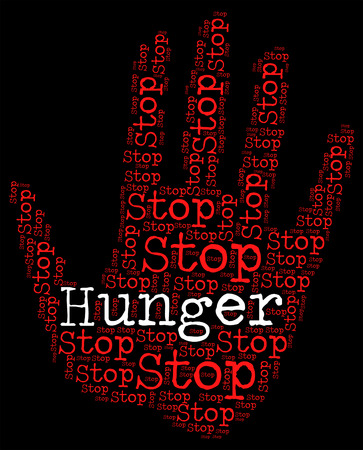 hunger: Stop Hunger Showing Lack Of Food And Famine Starvation Stock Photo