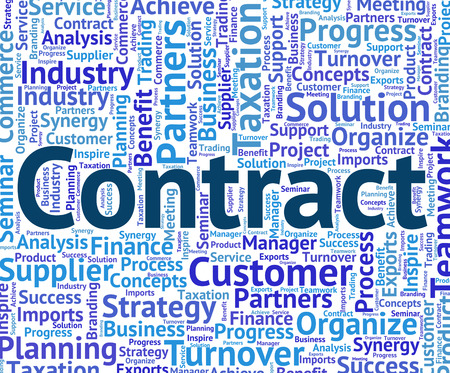 contractual: Contract Word Meaning Bond Compact And Contracts Stock Photo