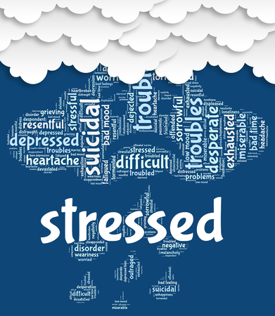 stressing: Stressed Word Meaning Stressful Tension And Overload Stock Photo