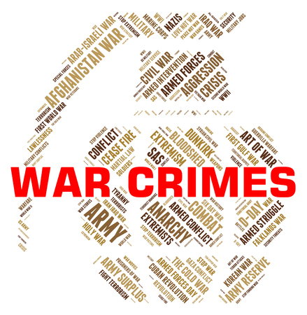unlawful act: War Crimes Meaning Military Action And Criminal Stock Photo