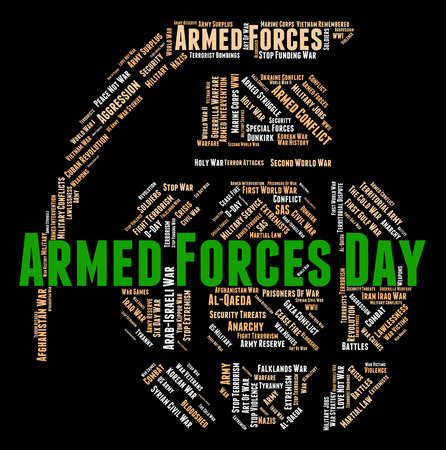 armed services: Armed Forces Day Indicating Fighting Machine And Army