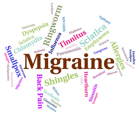 indisposition: Migraine Headache Showing Neurological Disease And Contagion Stock Photo