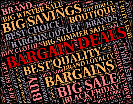 dealings: Bargain Deals Representing Dealings Save And Discount Stock Photo