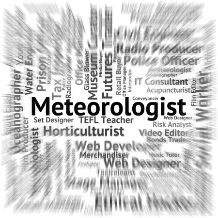 forecaster: Meteorologist Job Representing Hiring Recruitment And Specialist Stock Photo