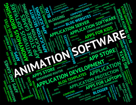 Animation Software Indicating Program Programs And Text Stock Photo