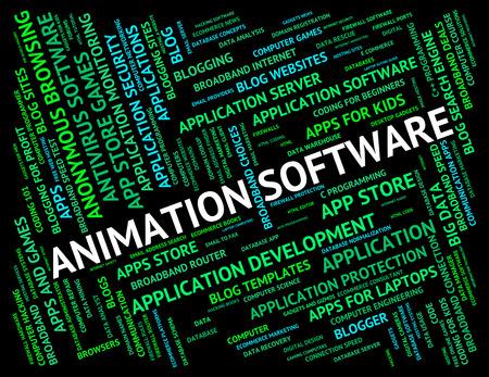 programs: Animation Software Indicating Program Programs And Text Stock Photo