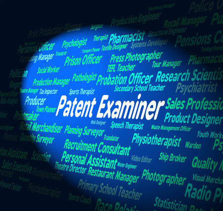 examiner: Patent Examiner Showing Performing Right And Job Stock Photo