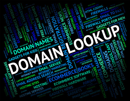 domain: Domain Lookup Representing Domains Searches And Realm Stock Photo