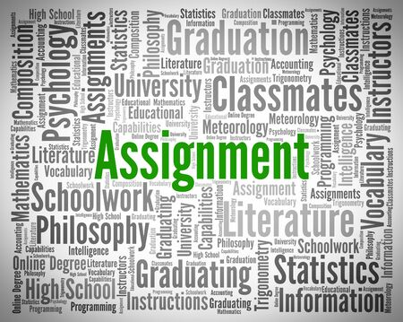 assignment: Assignment Word Indicating Home Study And Project Stock Photo