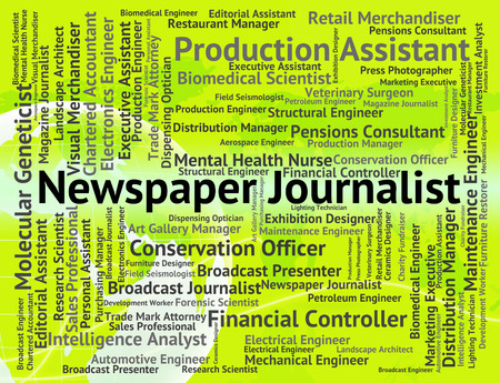 newsman: Newspaper Journalist Representing War Correspondent And Photojournalist Stock Photo