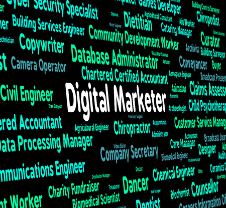 marketers: Digital Marketer Representing Electronic Computer And Marketers Stock Photo