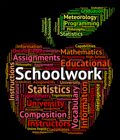 schoolwork: Schoolwork Word Showing Words Homework And Project Stock Photo