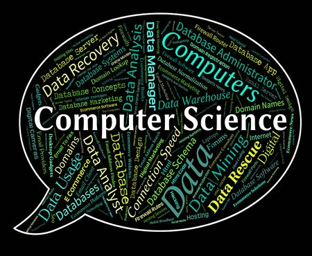 computer science: Computer Science Indicating Word Communication And Online Stock Photo