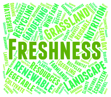 fresher: Freshness Word Meaning Fresher Raw And Text Stock Photo
