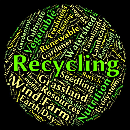 reusable: Recycling Word Indicating Go Green And Reusable