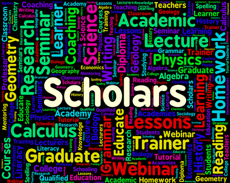 scholars: Scholars Word Meaning Learned Person And Academics Stock Photo