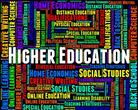 higher education: Higher Education Meaning Schooling Training And Educated Stock Photo