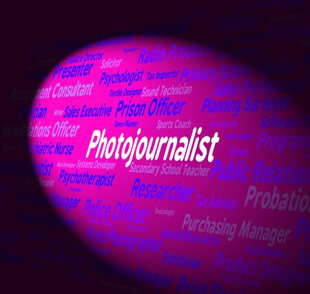 investigative: Photojournalist Job Representing War Correspondent And Paparazzi Stock Photo