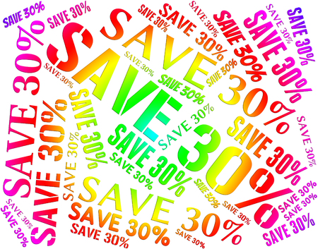thirty: Save Thirty Percent Representing Sales Promotion And Bargain Stock Photo