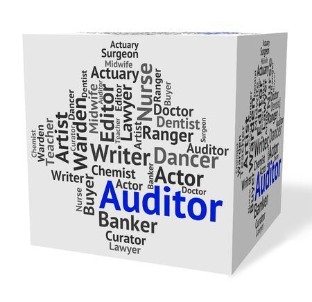 auditors: Auditor Job Indicating Actuary Occupations And Auditors Stock Photo