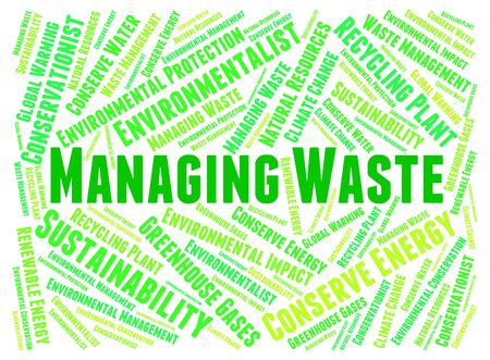 Managing Waste Representing Rubbish Garbage And Words
