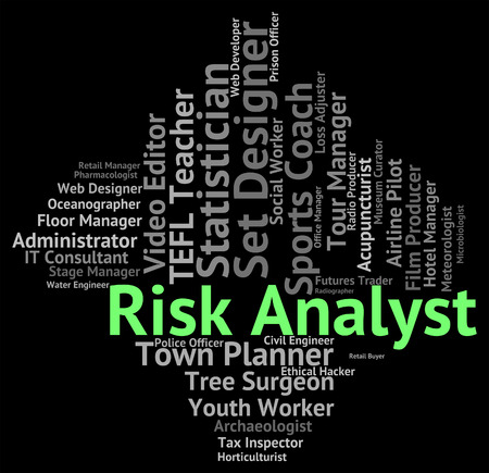 risky job: Risk Analyst Indicating Caution Failure And Beware