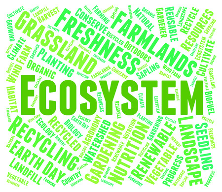 biosphere: Ecosystem Word Showing Environment Biosphere And Text