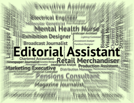 Editorial Assistant Indicating Employee Job And Word