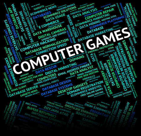 play time: Computer Games Indicating Play Time And Pc Stock Photo