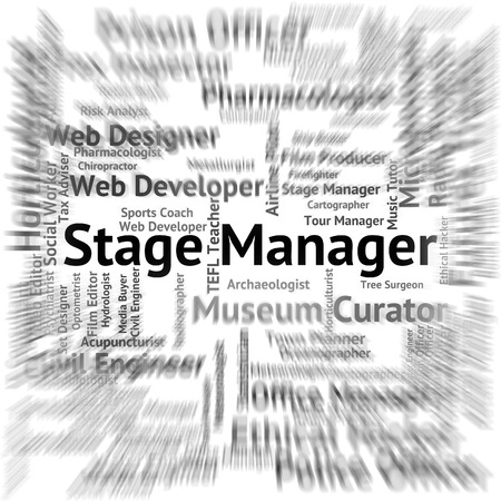 live event: Stage Manager Indicating Live Event And Theatres Stock Photo