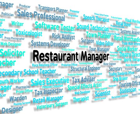 brasserie: Restaurant Manager Showing Proprietor Boss And Employment Stock Photo