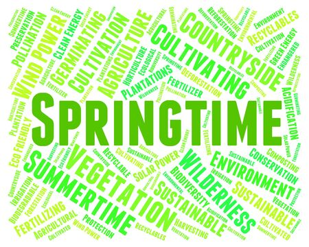 spring tide: Springtime Word Indicating Season Words And Warmth Stock Photo