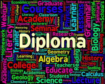 qualification: Diploma Word Showing Graduation Qualification And Masters