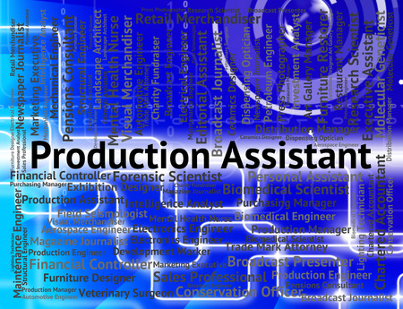 aide: Production Assistant Representing Auxiliary Jobs And Manufacturing Stock Photo