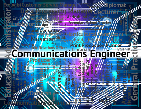 telecoms: Communications Engineer Representing Telecoms Words And Occupations