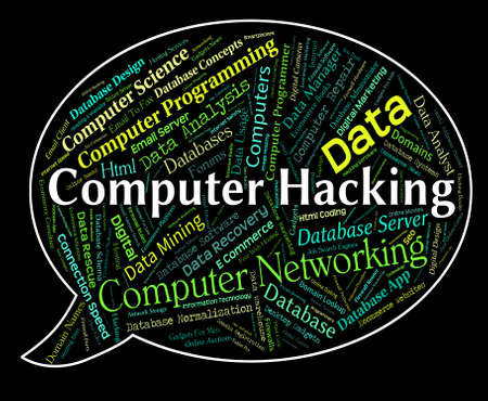 vulnerable: Computer Hacking Meaning Communication Vulnerable And Crime Stock Photo