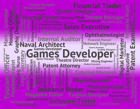 recreational: Games Developer Indicating Play Time And Recreational Stock Photo